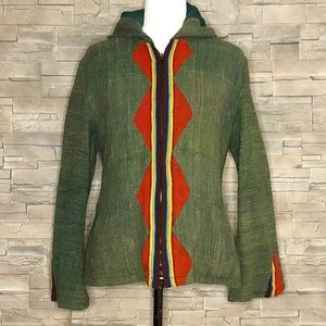 Green and red hooded burlap fabric jacket